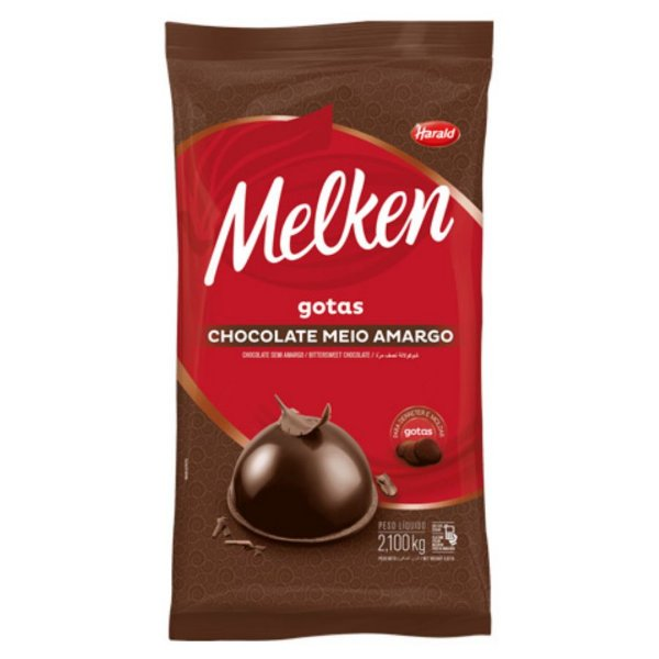 Chocolate Meio Amargo Gotas Melken 2,1kg Harald