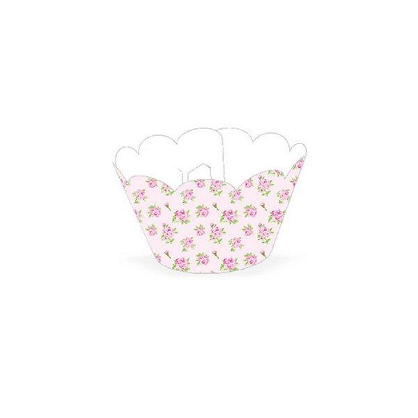 Wrapper Cupcake Tradicional - Floral Rosa - 5cm x 22cm - 12 unidades - Nc Toys