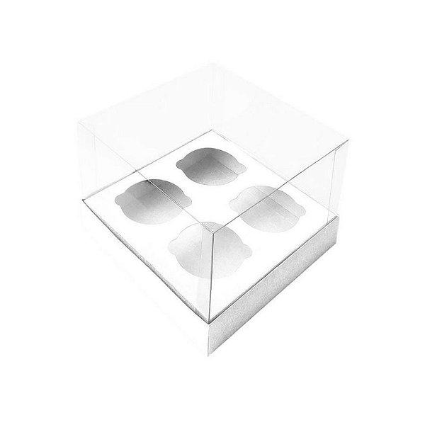 Caixa Mini Cupcake com Tampa Transparente 4 Cavidades (11cm x 11cm x 8,5cm) Branca 10 unidades Assk Rizzo Confeitaria
