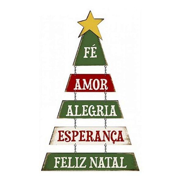 Placa Decorativa em MDF - Decor Home Natal - Árvore de Natal, Fé, Amor - DHN-019 - LitoArte Rizzo Confeitaria