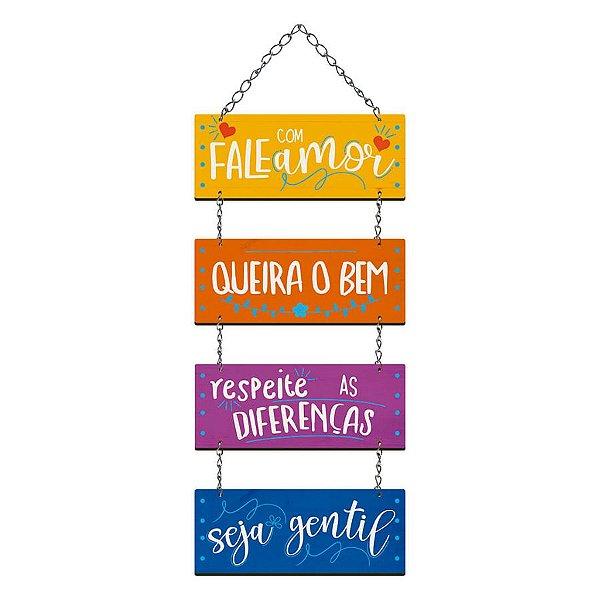 Placa Decorativa em MDF - Fale com Amor, Queira o Bem- DHPM5-361 - LitoArte Rizzo Confeitaria
