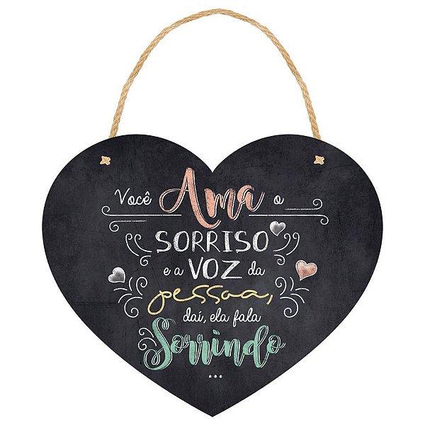Placa Decorativa em MDF - Coração Você Ama - DHPM5-187 - LitoArte Rizzo Confeitaria