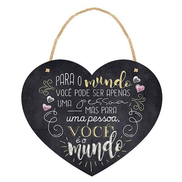Placa Decorativa em MDF - Coração para o Mundo - DHPM5-186 - LitoArte Rizzo Confeitaria