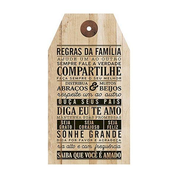 Placa Decorativa em MDF - Regras da Família - DHPM5-238 - LitoArte Rizzo Confeitaria