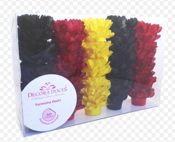 Forminha para Doces Finos - Madri Kit Comemore  Preto / Vermelho / Amarelo -50 unidades - Decora Doces - Rizzo Festas