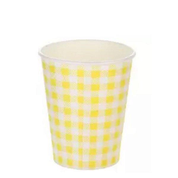 Copo papel Xadrez Junina Amarelo Biodegradável - 10 un - 270 ml - Silver Festas