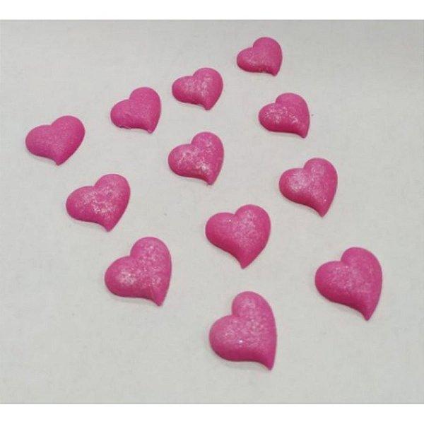 Confeitos Comestíveis Coração M Pink - Flores e Encantos de Açúcar Rizzo Confeitaria