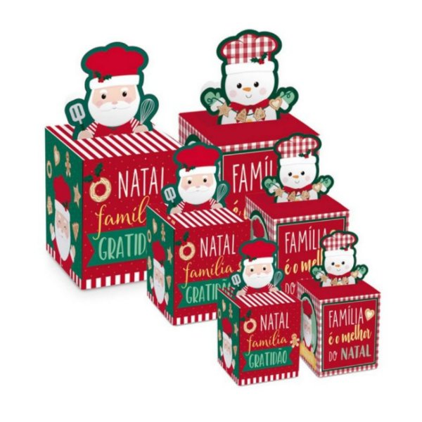 Caixa Panetone Pop Up Chef Composê - 10 unidades - Cromus Natal - Rizzo