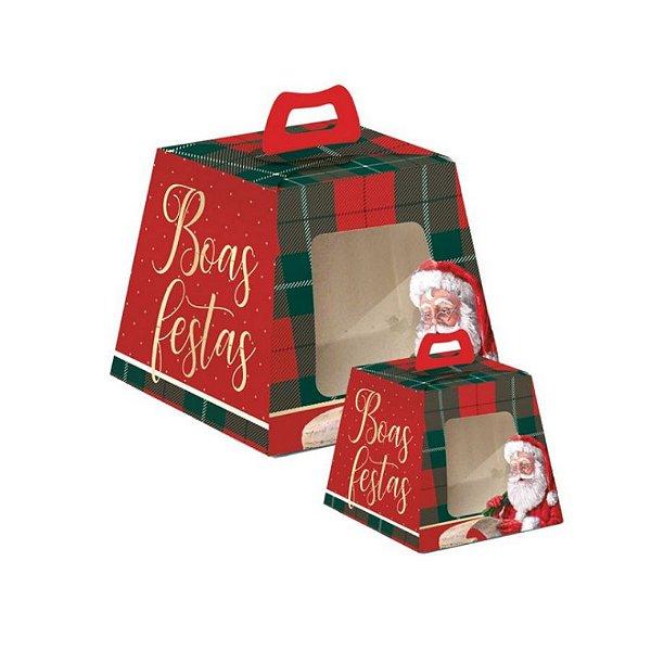 Caixa para Panetone Visor Noel Boas Festas - 10 unidades - Cromus Natal - Rizzo