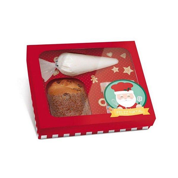 Caixa Panetone Kit Confeiteiro Noel Chef - 20,5x18x8cm - 01 Unidade Cromus Natal - Rizzo