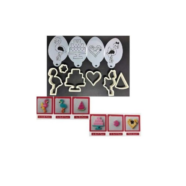 Jogo de Cortadores Plástico Flamingos - 10 peças - Confeitudo