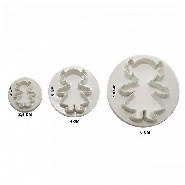 Jogo de Cortadores Plástico Menina GMEZN88 - 3 peças - YDH