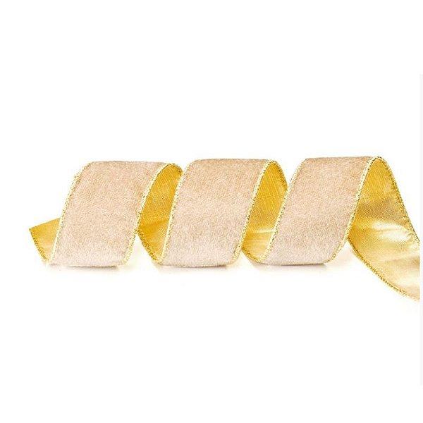 Fita Aramada Bege e Ouro 3,8cm x 9,14m - 01 unidade - Cromus Natal - Rizzo
