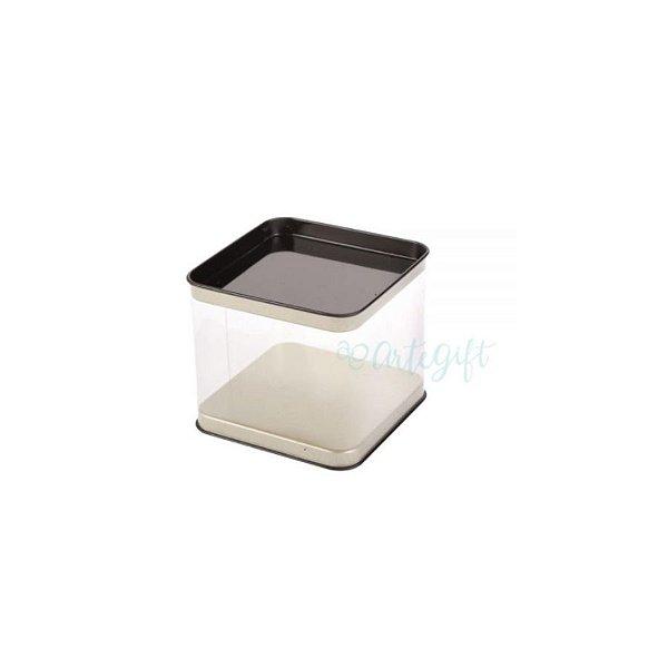 Lata Quadrada Transparente Prata 6un - 8,2x12cm - ArteGift - Rizzo