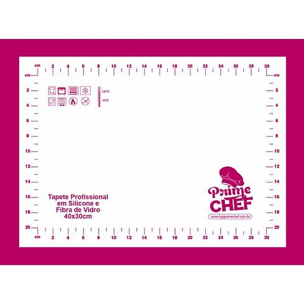 Tapete Profissional Silicone e Fibra de Vidro - 40x30cm - T1 Pink - Prime Chef - Rizzo Confeitaria