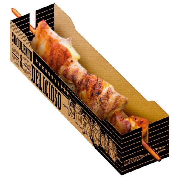 Caixa para Espetinho Kraft- 50 unidades - Food Service Fest Color - Rizzo Confeitaria