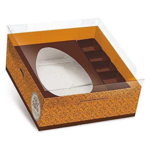 Caixa Practice para Meio Ovo M 350g com Bombons Chocolatier Laranja 06 unidades - Cromus Páscoa