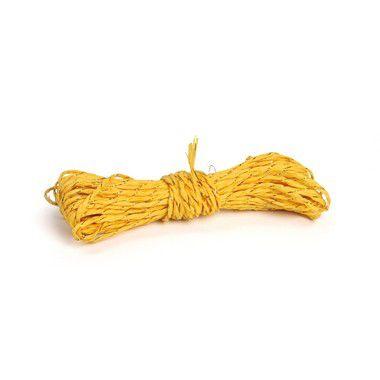 Fio Decorativo de Papel Torcido Amarelo Listrado com Ouro - 5 metros - Cromus - Rizzo Embalagens