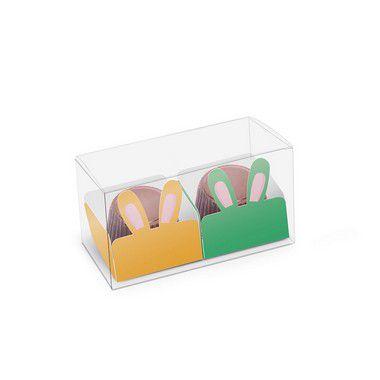 Caixa Clean 2 Doces com Forminha de Orelinha Páscoa Cores - 10 unidades - Cromus - Rizzo Embalagens