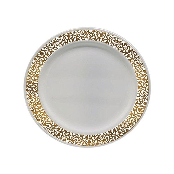 Prato Refeição Vazado Dourado    - 6 un - Silver Festas