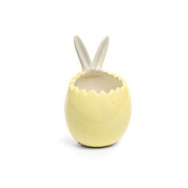Casca de Ovo com Orelhas Coelho em Cerâmica Amarelo - 11x6x6cm - 01 unidade - Cromus Páscoa