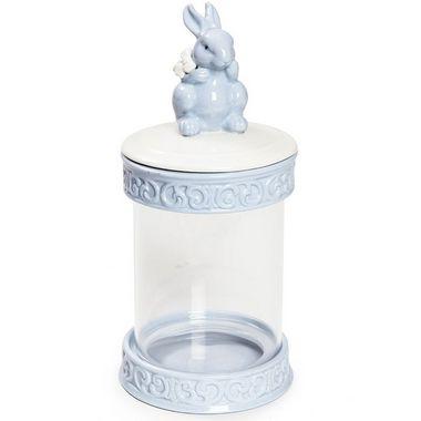 Pote Hermético em Vidro e Cerâmica Coelho Azul - 21cm x 10cm - Cromus Páscoa