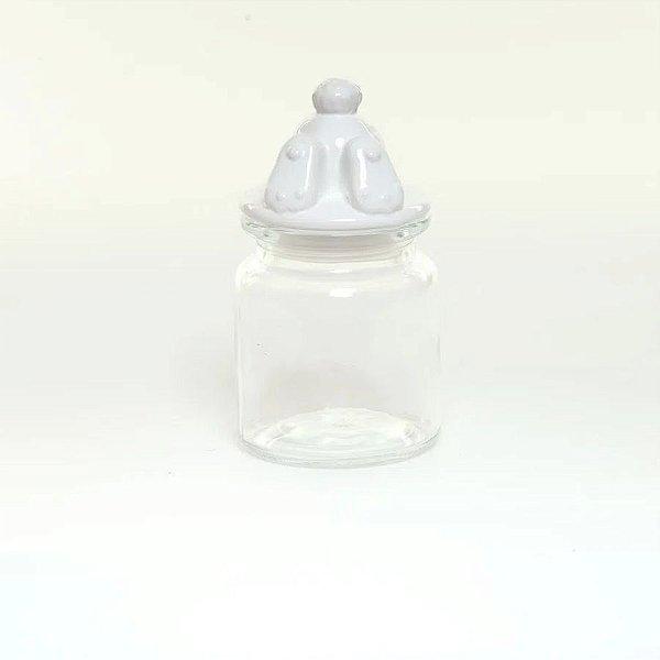 Pote Vidro e Cerâmica Pezinho Coelho Branco - 250ml - Cromus Páscoa