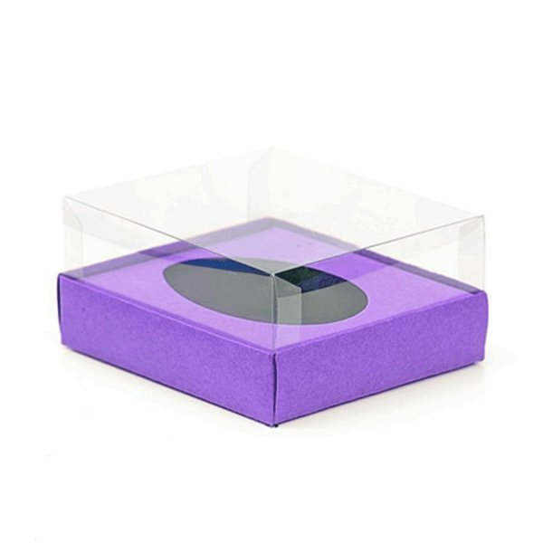 Caixa Ovo de Colher - Meio Ovo de 250g - 15cm x 13cm x 6,5cm - Lilás - 5unidades - Assk