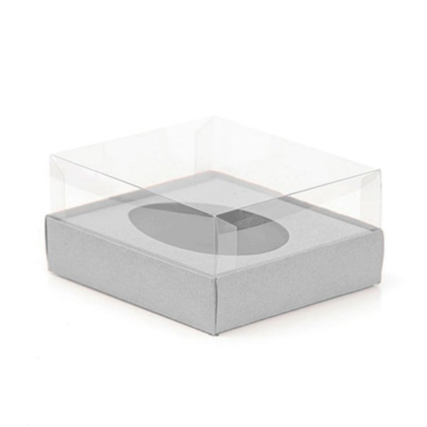 Caixa Ovo de Colher - Meio Ovo de 250g - 15cm x 13cm x 6,5cm - Metalizada Prata - 5unidades - Assk