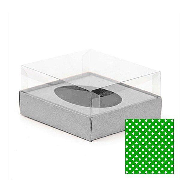 Caixa Ovo de Colher - Meio Ovo de 250g - 15cm x 13cm x 6,5cm - Verde c Bolinhas - 5unidades - Assk