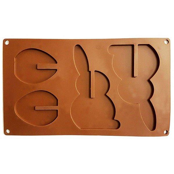 Forma Chocolate Silicone A1026 Coelho e Ovo 3D – 1 unidade – Prime Chef