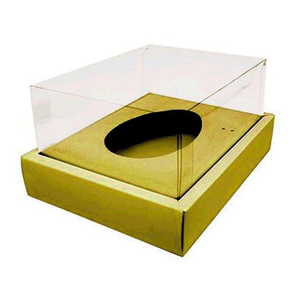 Caixa Ovo de Colher com Moldura - Meio Ovo de 350g - 23cm x 19cm x 10cm - Ouro - 5unidades - Assk - Páscoa Rizzo Embalag