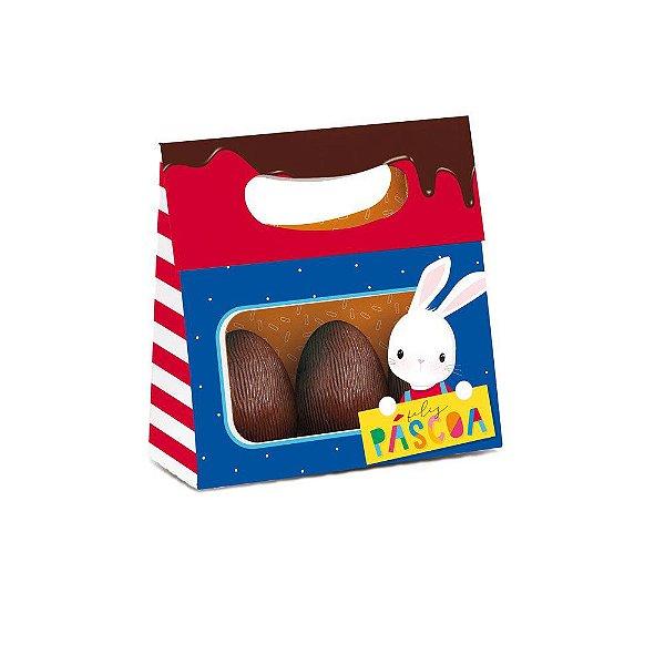 Mini Caixa Plus para ovos com Visor Brilho de Páscoa Azul 13x5, 5x13 - 10 unidades - Cromus Páscoa - Rizzo
