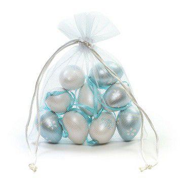 Ovo de Páscoa Decorativos no Saquinho Branco e Azul Perolado Sortidos - 9 unidades - Cromus Páscoa