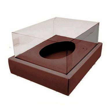 Caixa Ovo de Colher com Moldura - Meio Ovo de 500g - 23cm x 19cm x 10cm - Marrom - 5unidades - Assk - Páscoa Rizzo