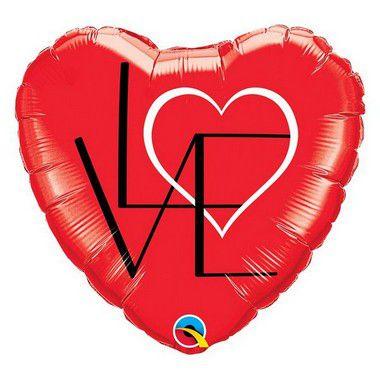 """Balão de Festa Microfoil 18"""" 45cm - Coração Vermelho Love - 01 Unidade - Qualatex - Rizzo"""