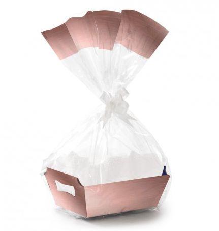Kit Cesta De Papel Cartão Rose Gold P - 01 unidade - Rizzo Embalagens