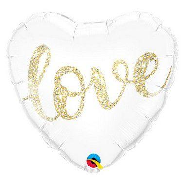 """Balão de Festa Microfoil 18"""" 45cm - Coração Branco Love - 01 Unidade - Qualatex - Rizzo"""