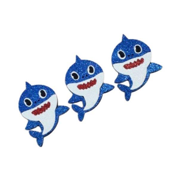Aplique de EVA Baby Shark Glitter Azul - 8cm x 6cm - 03 Unidades - Make Festas - Rizzo