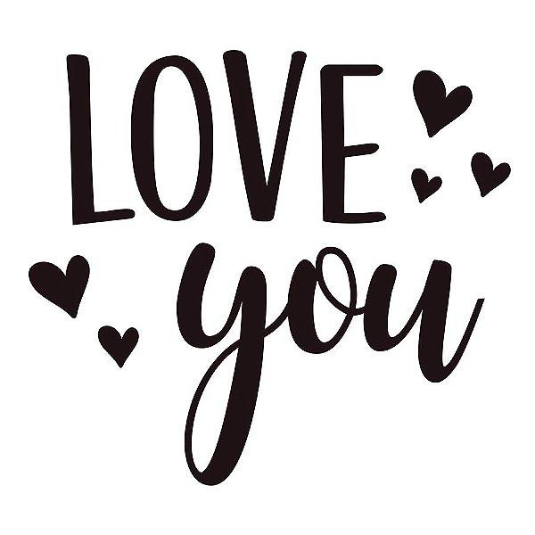 Transfer Para Balão Lettering Preto - Love You Coração - 01 Unidade - Cromus Balloons - Rizzo