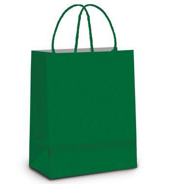 Sacola de Papel P  Verde Bandeira - 21,5x15x8cm - 10 unidades - Cromus - Rizzo