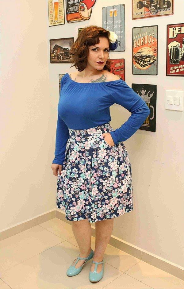 Saia Midi Floral azul com pregas