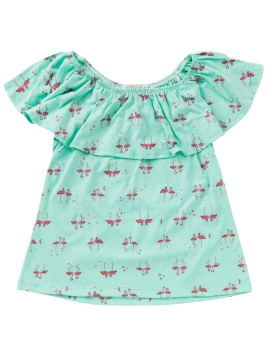 Blusa Babado Ciganinha Flamingos