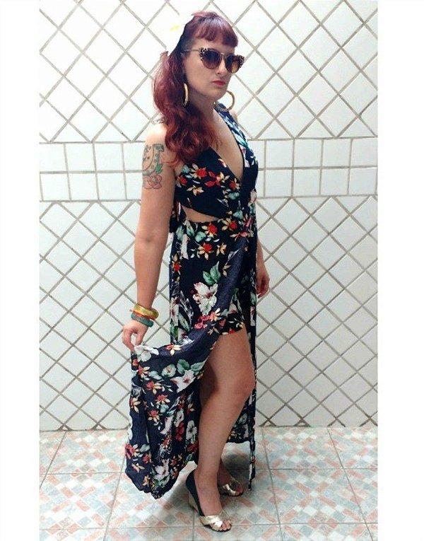 Vestido Macaquinho Floral Tiki com elástico