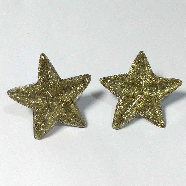 Brinco de Estrela Resina com Glitter