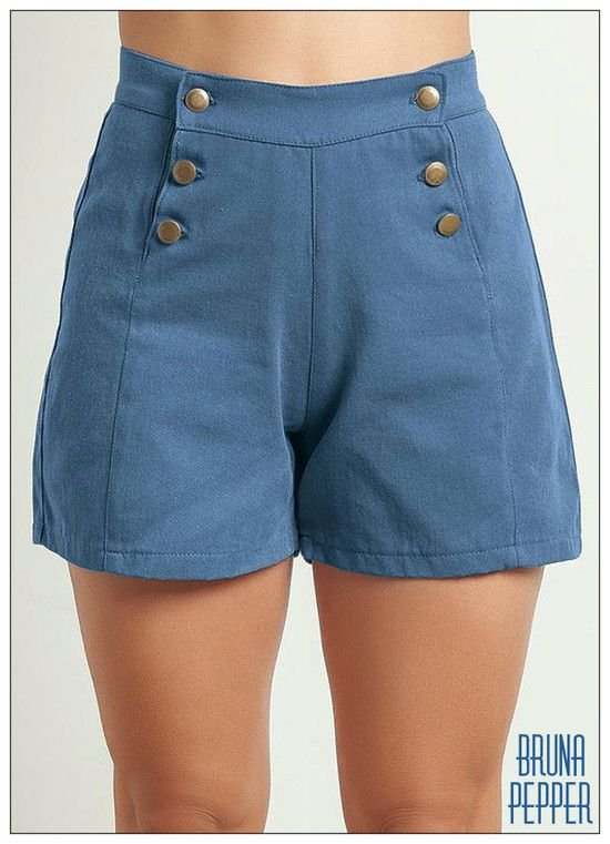 Shorts Cintura Alta com botões Navy Pin Up Retrô