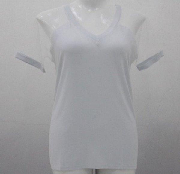 Blusa Com Manga de Tule e Decote V Plus Size Preta ou Branca