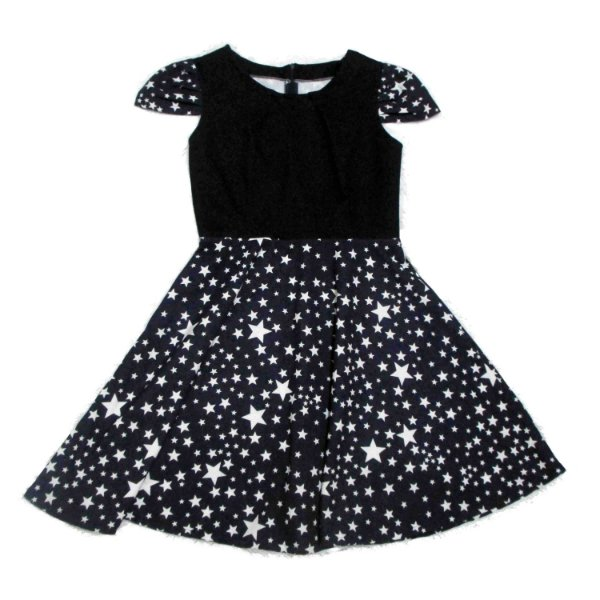 Vestido Godê Estrelas e Manguinha Manifesto Pin Up Retrô