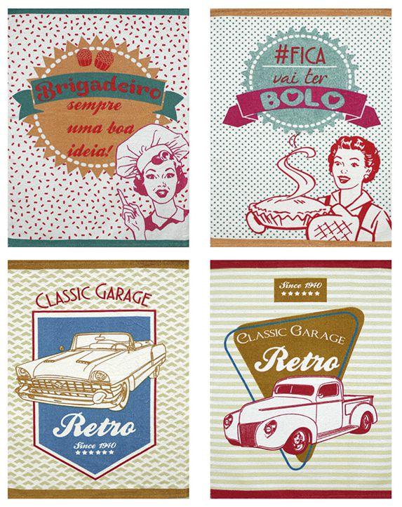Pano de Prato Retrô Vintage Pin Up Carros Antigos Vários