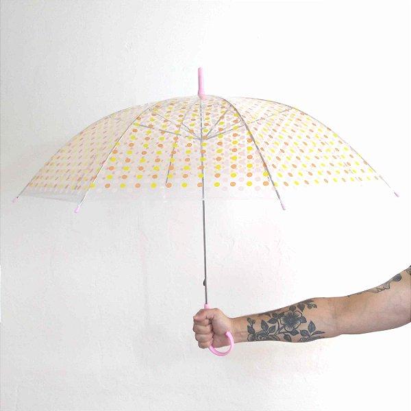 Guarda-chuva Transparente de Bolinhas Coloridas em 2 cores Pin Up Retrô